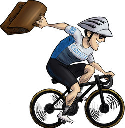 Caricature of Chris Carville riding a bike
